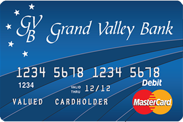 Photo of a Grand Valley Bank debit card